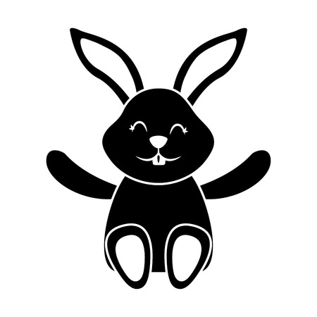 Cute little bunny sitting animal happy. Vector illustration, black and white image.
