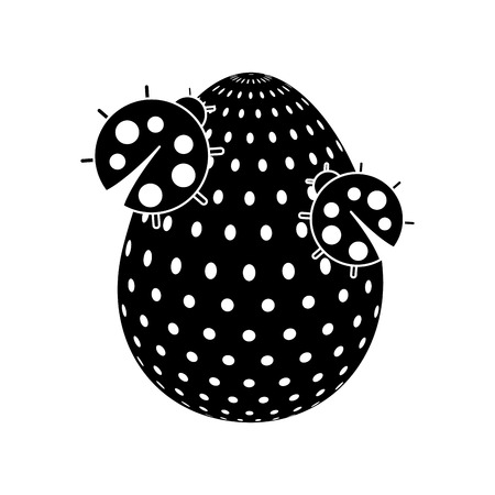 Decorative Easter egg with pair ladybug. Vector illustration, black and white image.