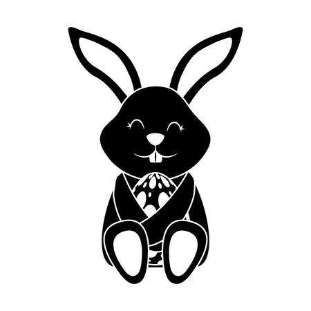 Little cute rabbit hugs for Easter egg vector illustration black and white image.
