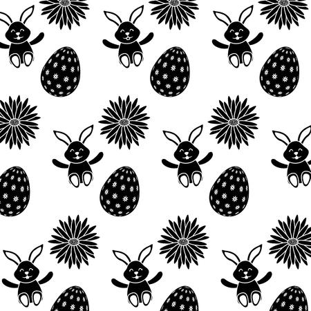 Beautiful Easter egg rabbit flower daisy decoration pattern vector illustration.