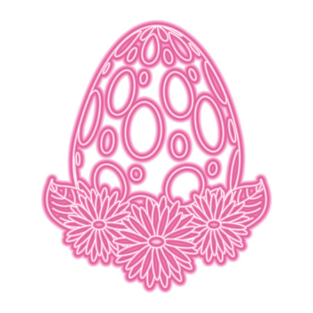 Dotted easter egg daisies flower leaves decoration vector illustration pink neon image.