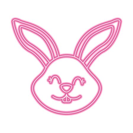 funny cute head rabbit ears animal cartoon vector illustration pink neon image