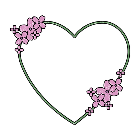 beautiful floral decoration with shape heart vector illustration design