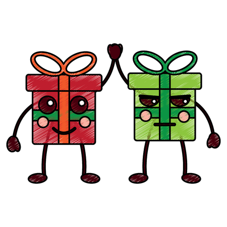 christmas collection cartoon gift boxes vector illustration