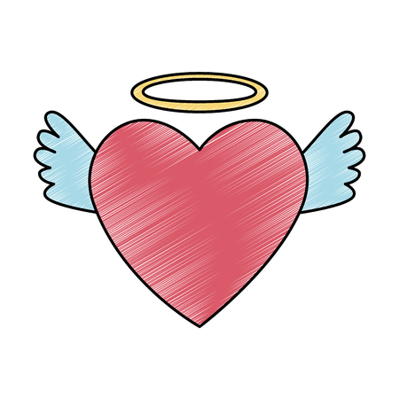 heart love with wings and halo vector illustration design