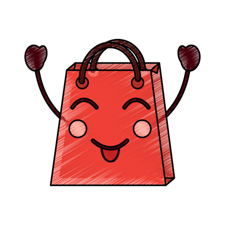 shopping bag character style vector illustration design drawing image Illustration