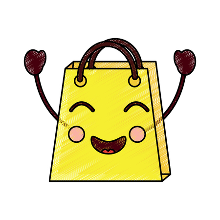 Shopping bag character vector illustration design drawing image. Illustration