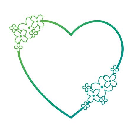 Beautiful floral decoration with shape heart vector illustration design Stock Illustratie