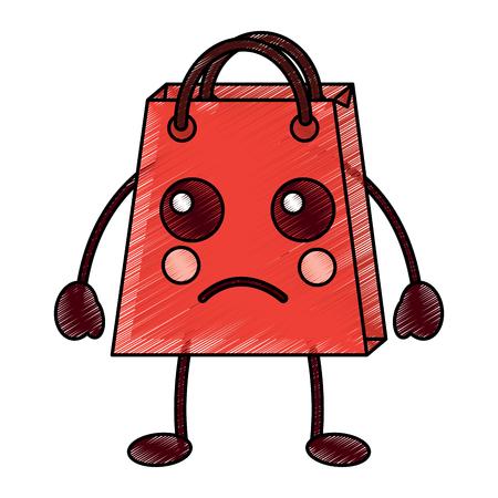 Shopping bag, sad character vector illustration design drawing image.