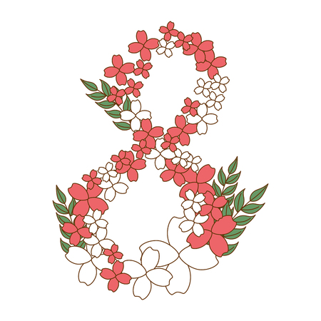 floral decoration in the shape of eight vector illustration design