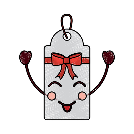 Christmas tag happy character label cartoon vector illustration drawing image.
