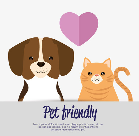 dogs and cats pets friendly vector illustration design Stok Fotoğraf - 95776311