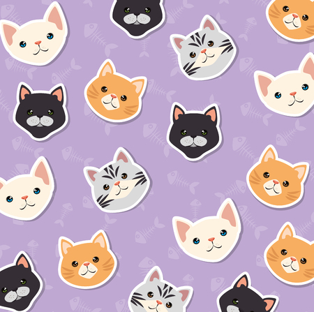 cute cats pets friendly pattern background vector illustration design