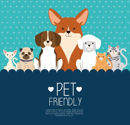Perros y gatos mascotas amigable diseño de ilustración vectorial