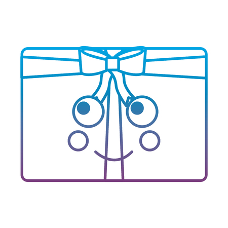 christmas gift box ornament with bow vector illustration blue line image