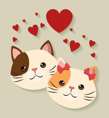 cute cats couple pets friendly vector illustration design