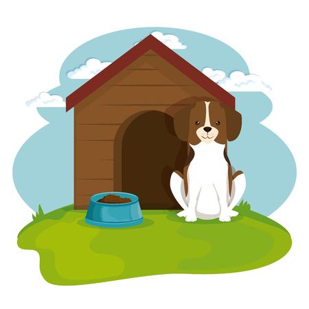 dog in wooden house pet friendly vector illustration design