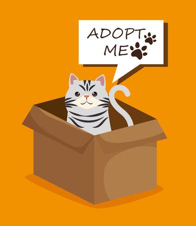 cute cat in box carton pet friendly vector illustration design