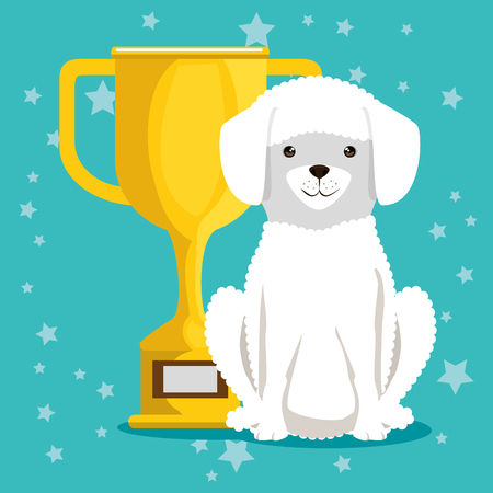 dog with trophy pet friendly vector illustration design