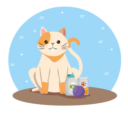 cute cat with products pet friendly vector illustration design Illustration