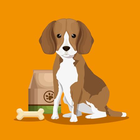 dog with bone and food bag pet friendly vector illustration design