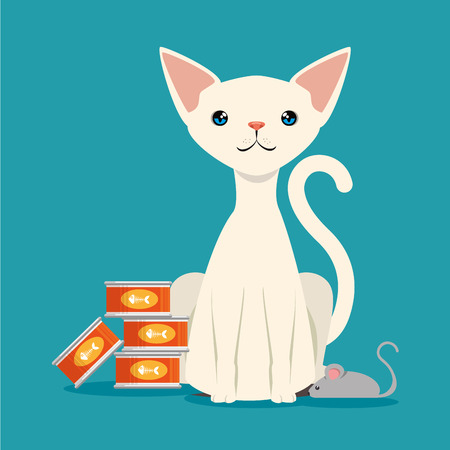 cute cat with food pet friendly vector illustration design
