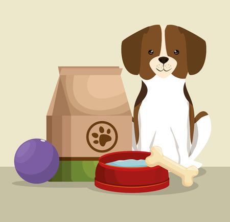 骨と食品バッグペットフレンドリーなベクトルイラストデザインを持つ犬