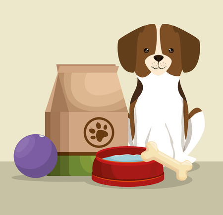 Hund mit Knochen und Lebensmittel Tasche Haustier freundliche Vektor-Illustration Design Standard-Bild - 95790280