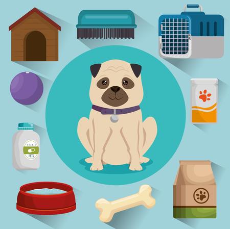 pet shop products set icons vector illustration design Stock Illustratie