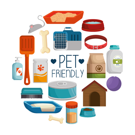 pet shop products set icons vector illustration design  イラスト・ベクター素材