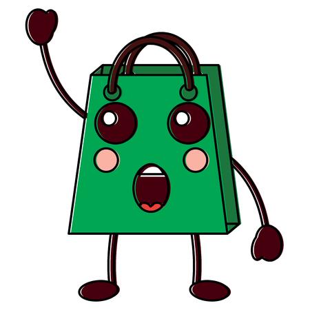 Shopping bag character vector illustration design drawing image. Illustration