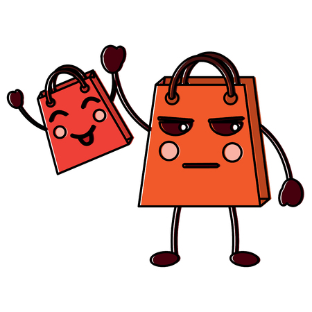 Two shop bag cartoon character vector illustration.