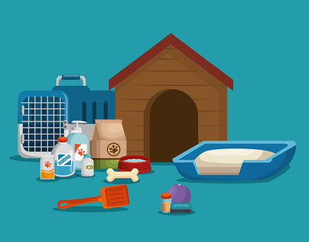 pet shop products set icons vector illustration design Illustration