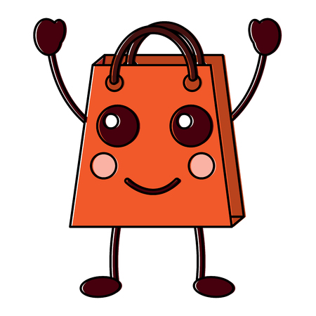 Shopping bag happy character vector illustration design drawing image.