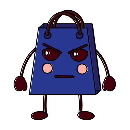 Shopping bag  angry character vector illustration design drawing image. Illustration