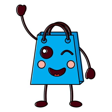 Shopping bag wink character vector illustration design drawing image.