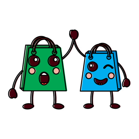 Two shop bag cartoon character, surprise and winked eye,  vector illustration.