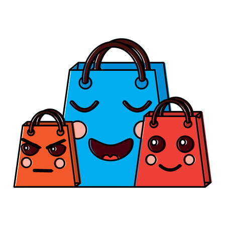 Collection of shopping bag character witj different emotions illustration design drawing image.