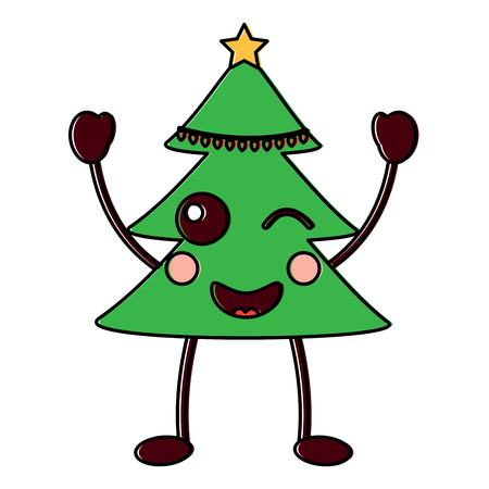 Smiling Cristmas tree cartoon character vector illustration.