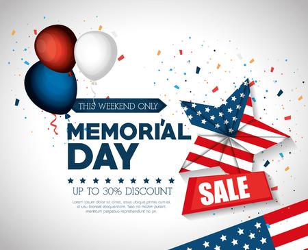 happy memorial day sale vector illustration design
