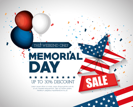 happy memorial day sale vector illustration design