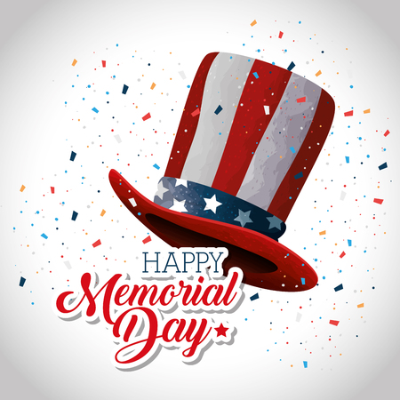 happy memorial day hat vector illustration design Illustration