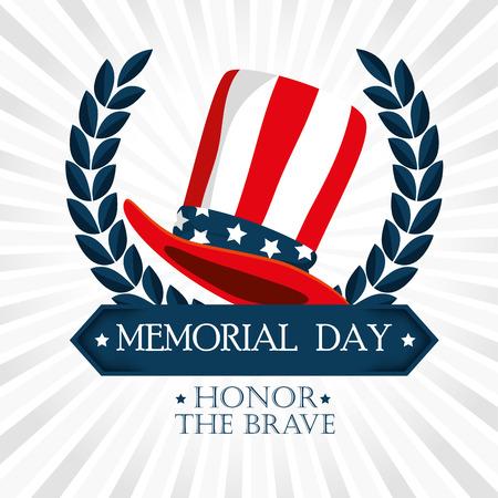 happy memorial day hat vector illustration design  イラスト・ベクター素材