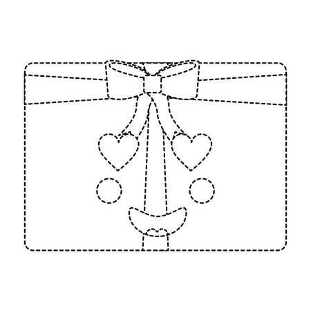 Inloved gift box ornament with bow vector illustration sticker image.