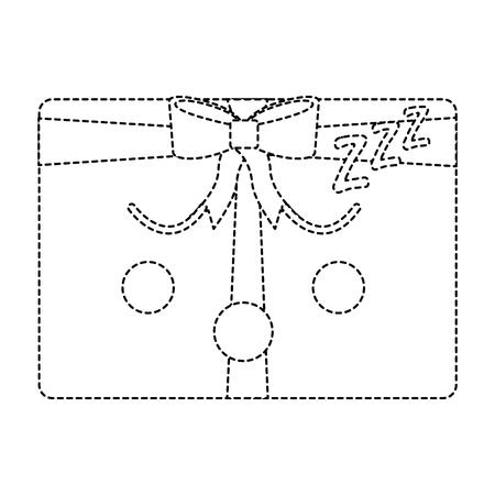 Sleeping Christmas gift box ornament with bow vector illustration sticker image. Çizim