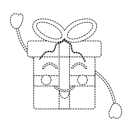 Happy Christmas gift box ornament with bow vector illustration sticker image.