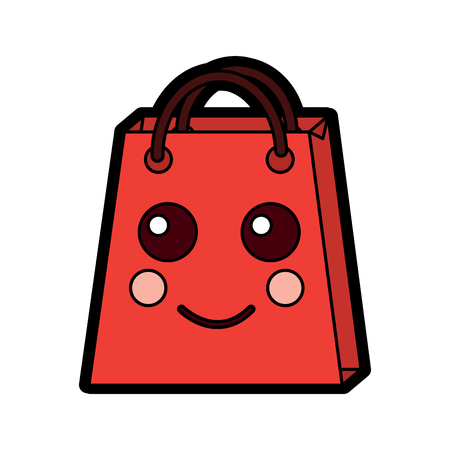 Shopping bag happy character vector illustration design.