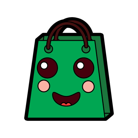 Shopping bag smiley character vector illustration design.