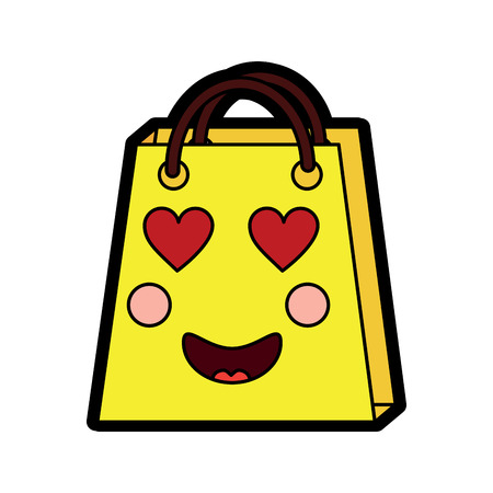 In love shopping bag character vector illustration design.