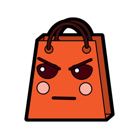 shopping bag character kawaii style vector illustration design Illustration